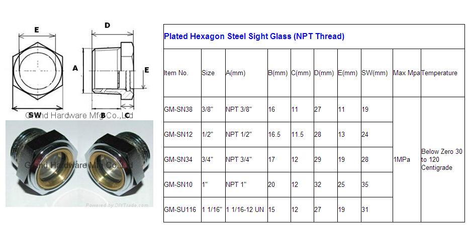 CARBON STEEL OIL LEVEL SIGHT GLASSES NPT 1/2 INCH