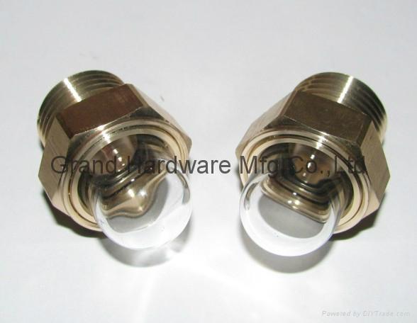 hemispherical glass oil sight glass