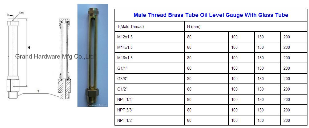 brass oil level gauge size chart