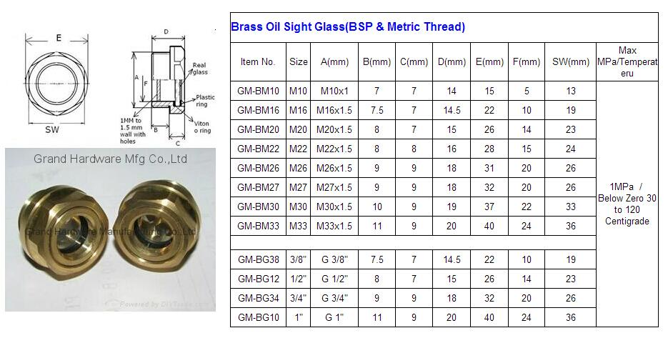 BSP/NPT螺紋1寸黃銅油鏡油窗視窗觀察鏡油位器 6