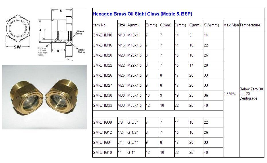 BSP/NPT螺紋1寸黃銅油鏡油窗視窗觀察鏡油位器 17