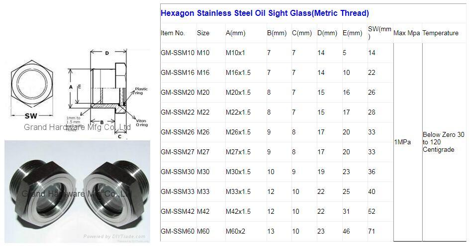 """3/4"""" Stainless Steel Observe Diesel Oil Level Sight Glass with Ball and Baffle 5"""