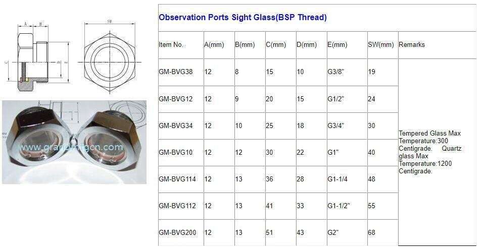observation port sight glass