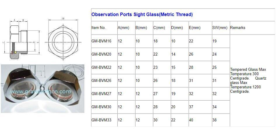 observation port sight glass 1 1/2 inch