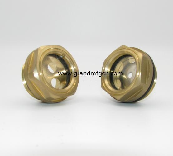 """BSP G 1"""" hexagon brass oil sight glass with flat temper glass"""