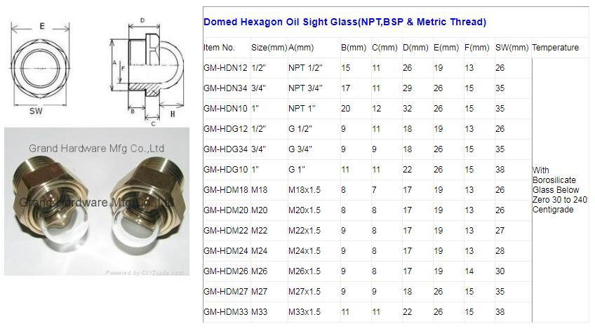 domed oil sight glasses size specification