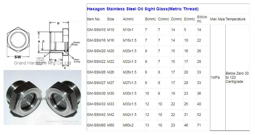 SUS304 不鏽鋼油位觀察視鏡液位計油窗有擋板耐高溫高壓 7
