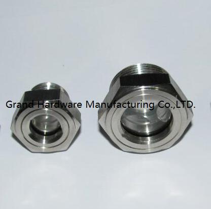 SUS304 不锈钢油位观察视镜液位计油窗有挡板耐高温高压 16