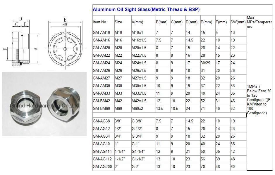 空壓機鋁制油液視鏡油鏡M20x1.5 3