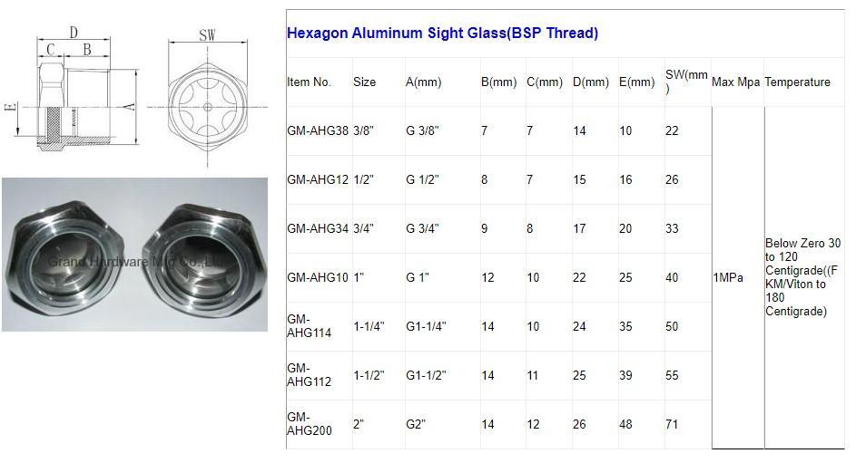 """英制铝油液位视镜G3/8"""" 10"""