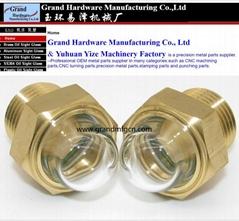 黄铜油镜半圆球形玻璃外凸玻璃油镜油窗观察镜GM-HDG12