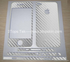 iPhone4 Carbon Fiber Skin-Silver