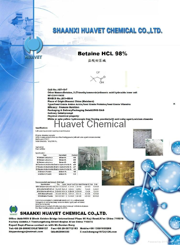 Betaine HCL 98%,95%(CAS No.: 590-46-5)