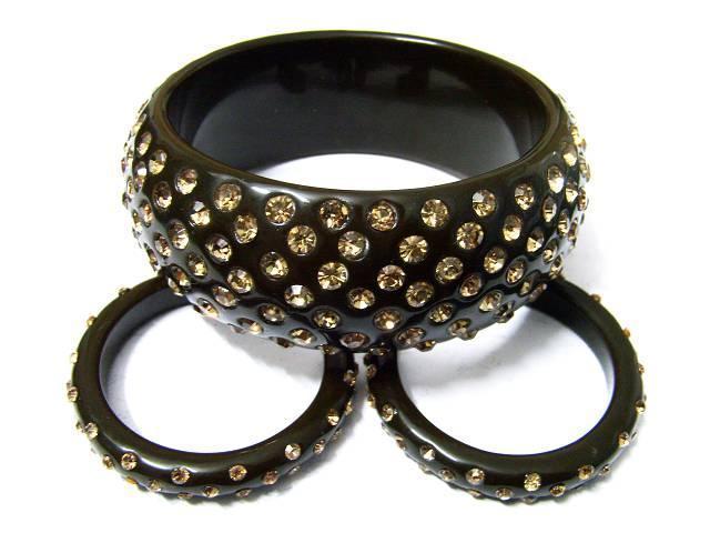 树脂镶钻手镯&树脂镶钻耳环套装