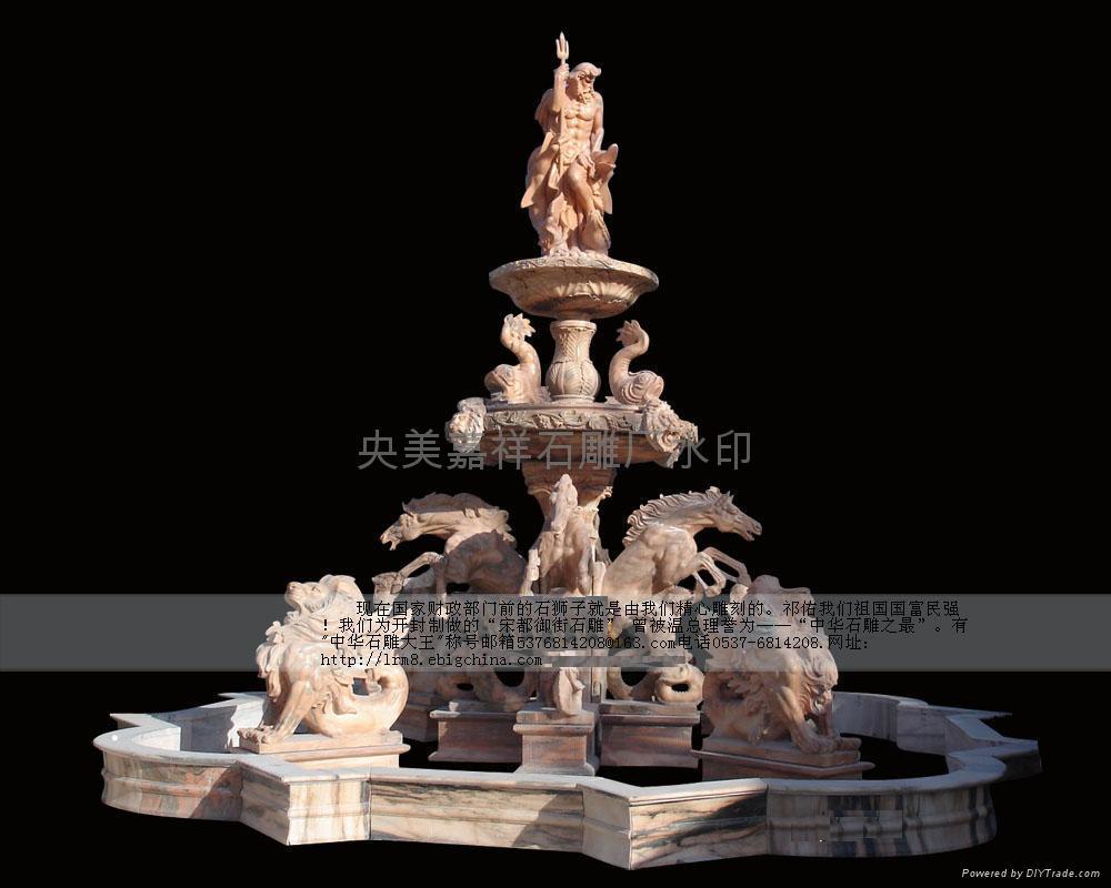 石雕喷泉风水球鸿福轮水景 1