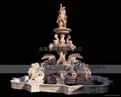 石雕喷泉风水球鸿福轮水景
