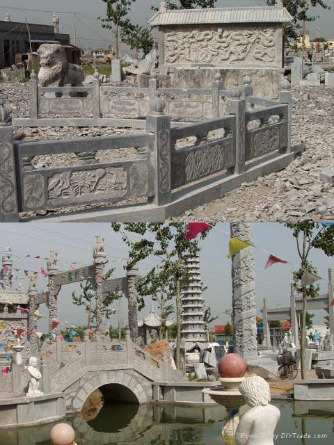 石雕旗台栏杆桥栏 2