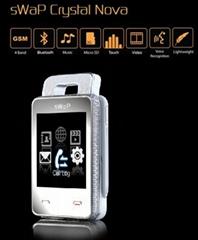 "Swap Crystal NOVA(EC107)watch mobile phone 1.8""touch screen quadband"