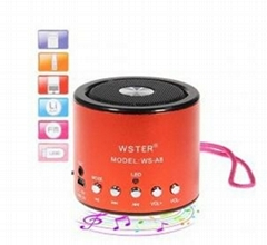 WS-A8 Mini Portable Music Loud Speaker with FM Radio + TF Card Supported + Recha