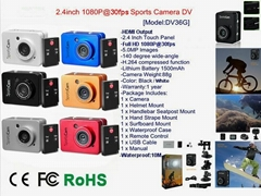 1080P HD Mini Action Helmet Camera Waterproof Sport Car DV Bike Camcorder 2.4""