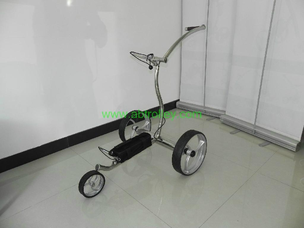 Wave shaped Germany stainless steel golf trolley with lithium battery 4