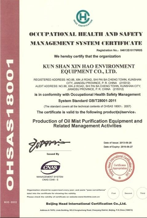 職業健康安全管理體系認証証書(中)