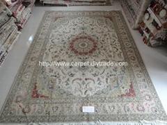 Double Knots Silk rug بساط المشي الطب  Persian natural silk & wool carpet