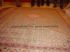 Special gold silk carpet, washed carpet, hand-made silk & wool بساط المشي الطبي