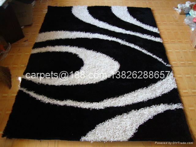 与奔驰一样品质的优质冰丝地毯 客厅地毯 黒白色地毯 1
