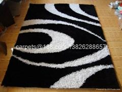 供应优质冰丝地毯 客厅地毯 黒白色地毯