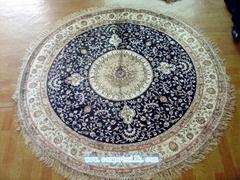 世界名毯-亞美手工真絲圓毯子 6x6 ft 手工圓形地毯