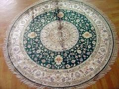 世界名毯-亚美手工真丝圆毯子 6x6 ft 手工圆形地毯