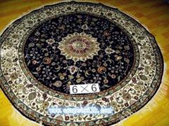 亞美真絲波斯圓毯子 手工真絲圓形地毯 6x6 ft