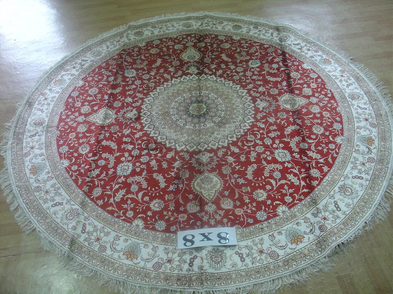 世界名毯-亚美批发圆形真丝地毯 圆形手工波斯地毯 1