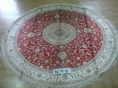 世界名毯-亚美批发圆形手工真丝波斯地毯 圆形真丝地毯