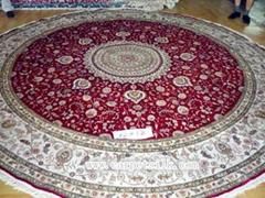 生产手工园形手工地毯12x12ft 加拿大 比利时 美国真丝