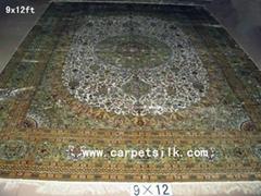 手工真丝波斯地毯 100% 天然蚕丝 艺术挂毯 古典地毯