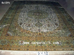 persian handmade silk carpet size 9x12 ft