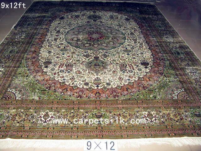 手工真丝波斯地毯 100% 天然蚕丝 艺术挂毯 古典地毯 2