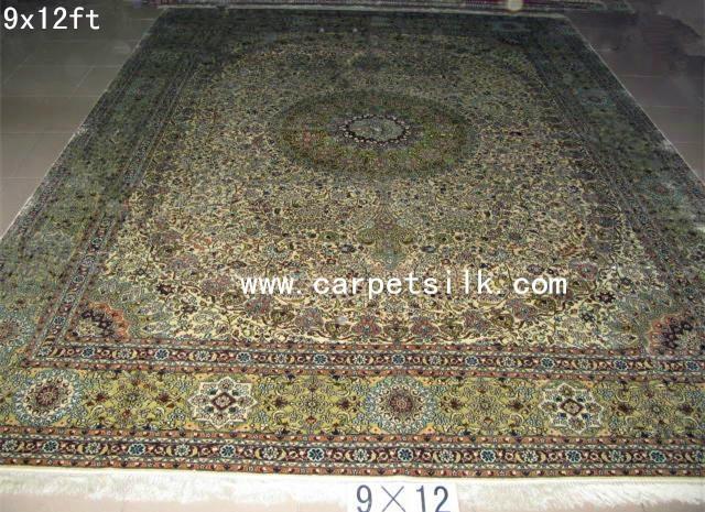 手工真丝波斯地毯 100% 天然蚕丝 艺术挂毯 古典地毯 3