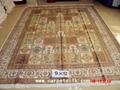 手工真丝波斯地毯 9x12ft 艺术地毯 波斯富贵图案, 5