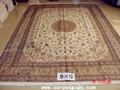 手工真丝波斯地毯 9x12ft 艺术地毯 波斯富贵图案, 4