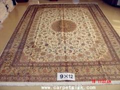 手工真丝地毯 9x12ft 艺术地毯 波斯富贵图案