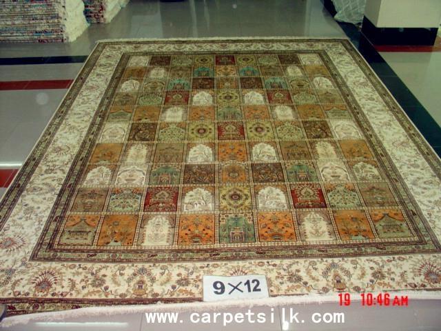 手工真丝波斯地毯 9x12ft 艺术地毯 波斯富贵图案, 1