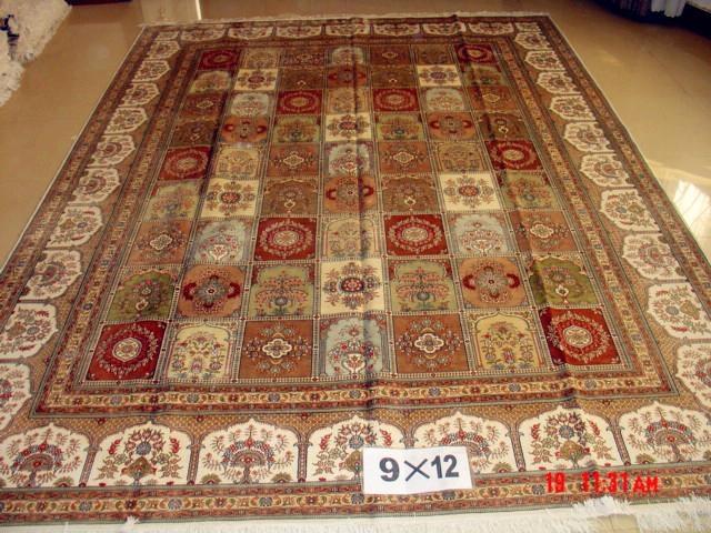 手工真丝波斯地毯 9x12ft 艺术地毯 波斯富贵图案, 3