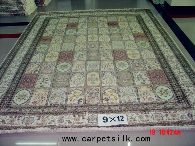 手工真丝波斯地毯 9x12ft 艺术地毯 波斯富贵图案, 2