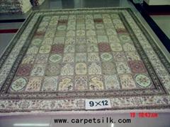 波斯富贵图案手工真丝 波斯地毯 9x12ft 艺术地毯