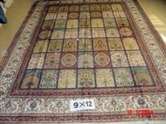 批发在亚美地毯厂- 波斯图案 9x12ft 手工丝绸地毯