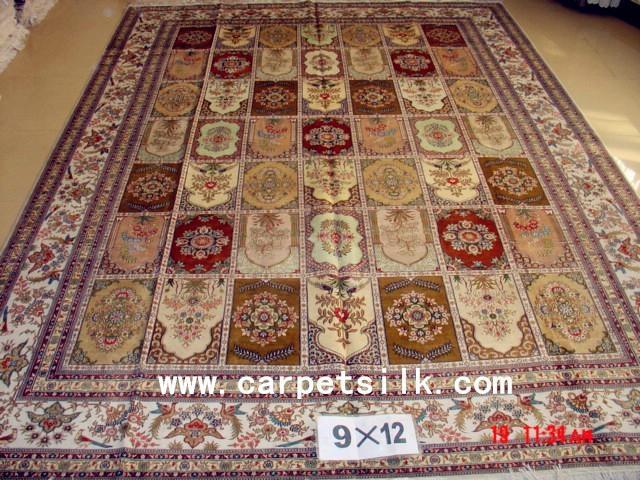 手工丝绸地毯 波斯图案 9x12ft  批发零售在亚美地毯厂 1