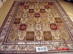 手工絲綢地毯 波斯圖案 9x12ft  批發零售在亞美地毯廠